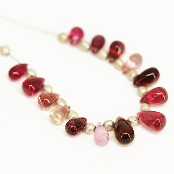 Multi Tourmaline Smooth Tear Drop Briolette Beads Strand - 14 beads - 6mm - 8.5mm - Jewels Exports - 1
