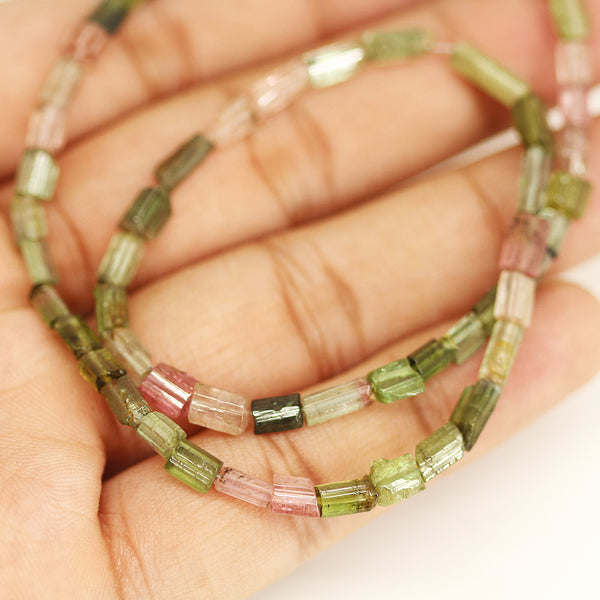 Multi Tourmaline Faceted Tube Beads Strand - 14 Inches - 3mm - 9mm - Jewels Exports - 1