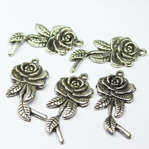Rose Stick Pendant Charm Metal Finding, Sold per 4 pcs, CC24 - Jewels Exports