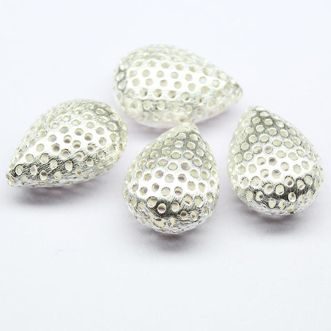 Puff Pear Holes Bead Spacer Finding, Sold per 2pc, CF3 - Jewels Exports