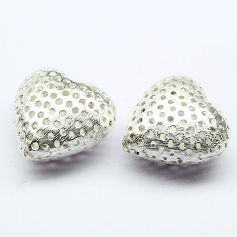 Puff Heart Holes Bead Spacer Finding, Sold per 2pc, CF4 - Jewels Exports