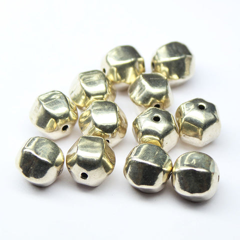 Puff Hexagon Smooth Spacer Bead Finding, Sold per 8 pcs, CN23 - Jewels Exports