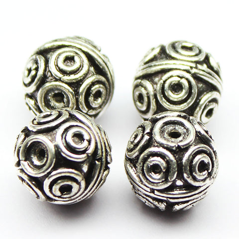 Designer Round Ball Bead Spacer Metal Finding, Sold per 2pc, CN60 - Jewels Exports