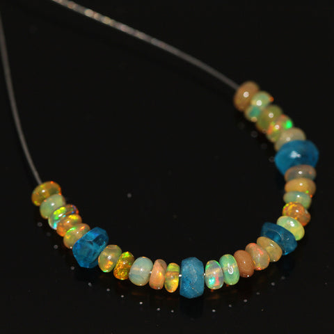 Fire Welo Ethiopian Opal Apatite Smooth Rondelle Beads, 4.65cts, 3-5mm, 2 inches - Jewels Exports