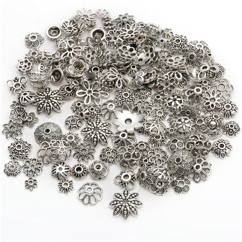 150 Flower Bead Cap Antique Silver Tone Findings - Jewelry Making - Jewels Exports