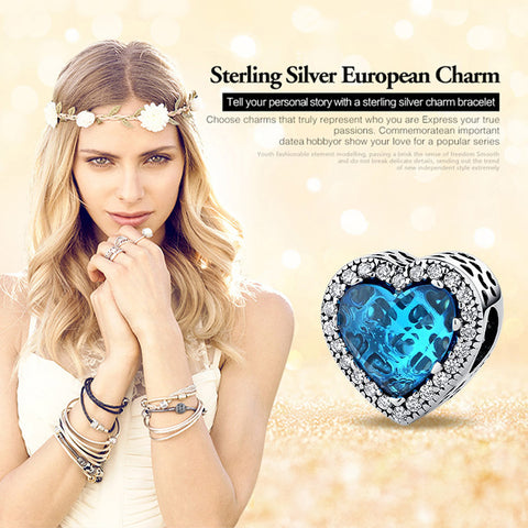 Crystal Heart European Spacer Zircon Pave Beads Charms - 925 Sterling Silver - Jewelry Making - Jewels Exports