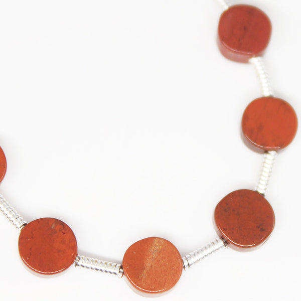 Red Jasper Smooth Round Coin Beads, 10 Beads, 5mm, SKU/P - Jewels Exports - 1