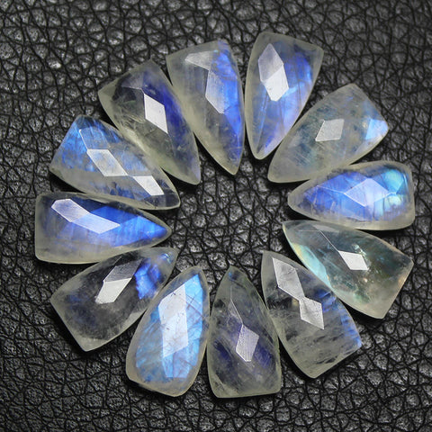 Rainbow Moonstone Faceted Pyramid Drops Briolette, Sold per 5pc, 15x8mm - Jewels Exports - 1