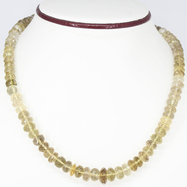 LEMON QUARTZ FACETED BEADS NECKLACE WITH CLASP, READY TO WEAR, 18 INCHES, 8-12mm - Jewels Exports - 1