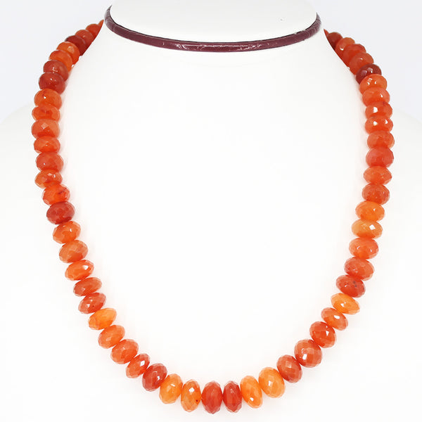 MAGNIFICENT Natural Carnelian Faceted Beads CLASP Necklace, READY TO WEAR, 18 inches, 10-13mm - Jewels Exports - 1