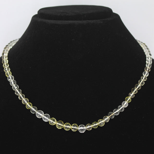 BI LEMON QUARTZ FACETED ROUND BEADS NECKLACE WITH CLASP, READY TO WEAR, 18 INCHES, 3-8mm - Jewels Exports - 1