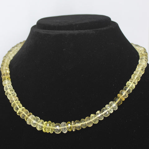 BI LEMON QUARTZ FACETED BEADS NECKLACE WITH CLASP, READY TO WEAR, 18 INCHES, 7-11mm - Jewels Exports - 1