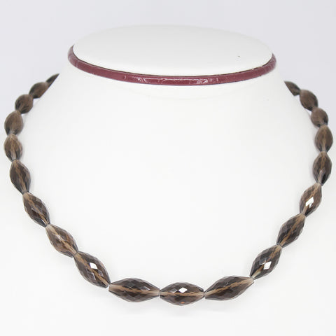 SMOKY QUARTZ FANCY MARQUISE NECKLACE WITH CLASP, READY TO WEAR, 18 INCHES, 11-19MM - Jewels Exports - 1
