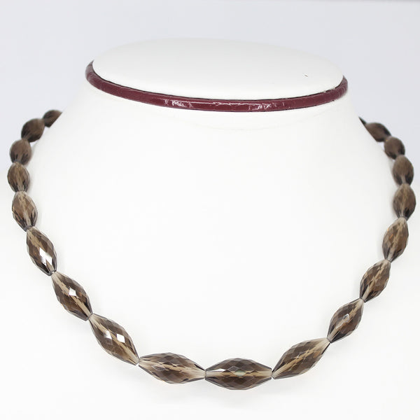 SMOKY QUARTZ FANCY PUFF MARQUISE NECKLACE WITH CLASP, READY TO WEAR, 18 INCHES, 11-21MM - Jewels Exports - 1