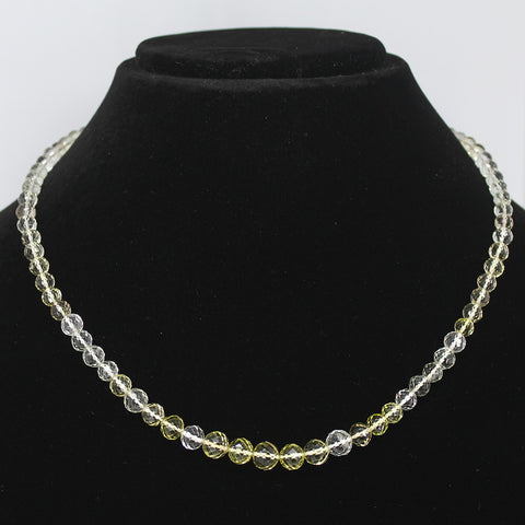 BI LEMON QUARTZ FACETED ROUND BEADS NECKLACE WITH CLASP, READY TO WEAR, 18 INCHES, 4-8mm - Jewels Exports - 1
