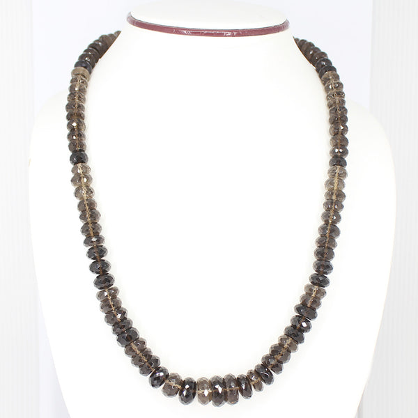 SMOKY QUARTZ FACETED BEADS NECKLACE WITH CLASP, READY TO WEAR, 22 INCHES, 5-16MM - Jewels Exports - 1