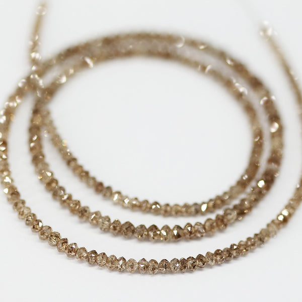 22ct Natural Champagne Fancy Diamond Faceted Rondelle Beads 14