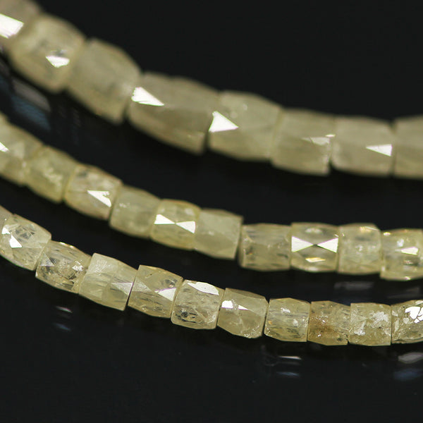 20.84ct Faint Yellow Diamond Faceted Tube Fancy Beads Strand 15
