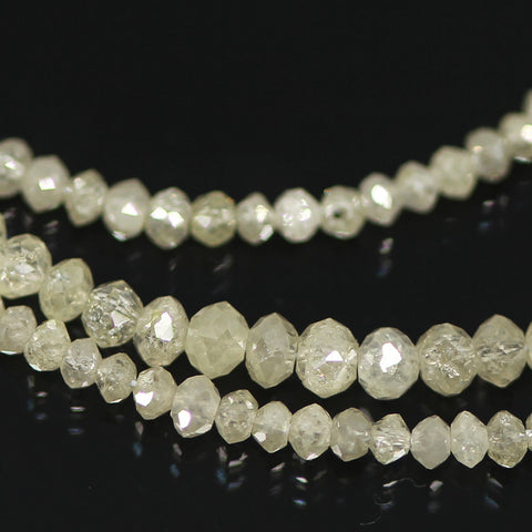 14ct White Diamond Faceted Rondelle Beads Strand 15