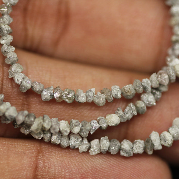 21.72ct Natural White Diamond Uncut Beads Strand 15
