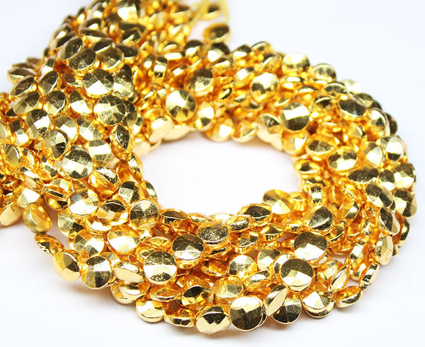 Natural Gold Coated Pyrite Faceted Round Cut Coin Beads, 14 inches, 7mm, SKU9316/J - Jewels Exports - 1