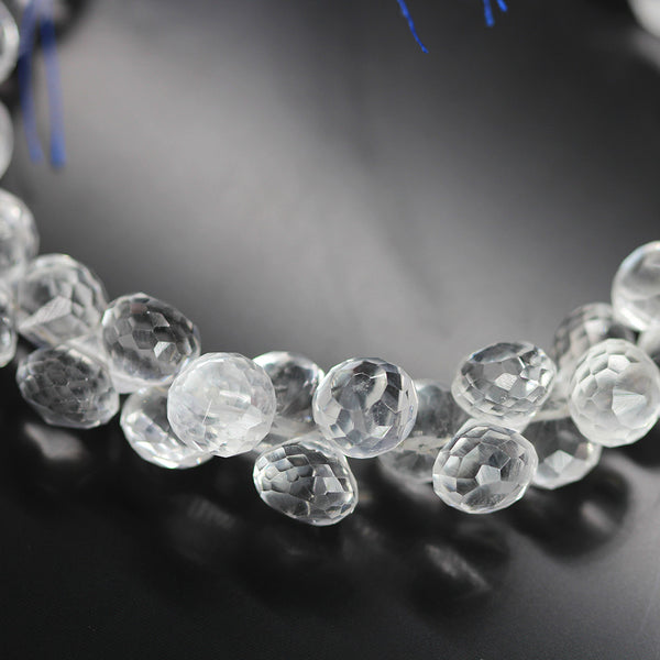 White Quartz Crystal Faceted Onion Bead Strand - 8 Inch - 8mm - Jewels Exports - 1