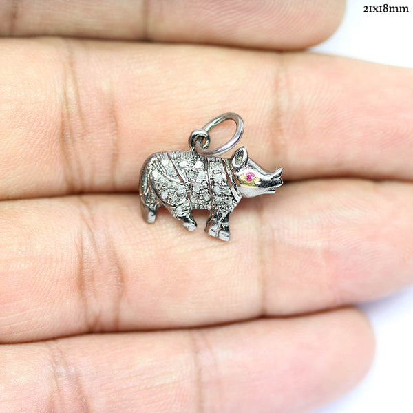 Rhino Pave Diamonds 925 Silver Gold Plated Charm Pendant - Jewels Exports