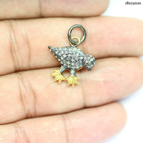 Sparrow Bird Pave Diamonds 925 Silver Gold Plated Charm Pendant - Jewels Exports