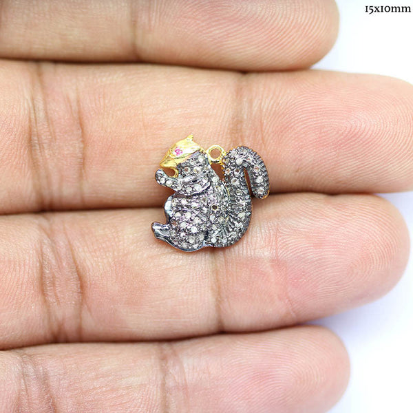 Squirrel Pave Diamonds 925 Silver Gold Plated Charm Pendant - Jewels Exports