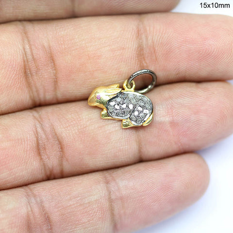 Rabbit Pave Diamonds 925 Silver Gold Plated Pendant - Jewels Exports