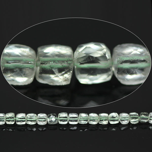 Green Amethyst Faceted Cube Box Beads, 5 beads, 7mm, SKU7118/E - Jewels Exports