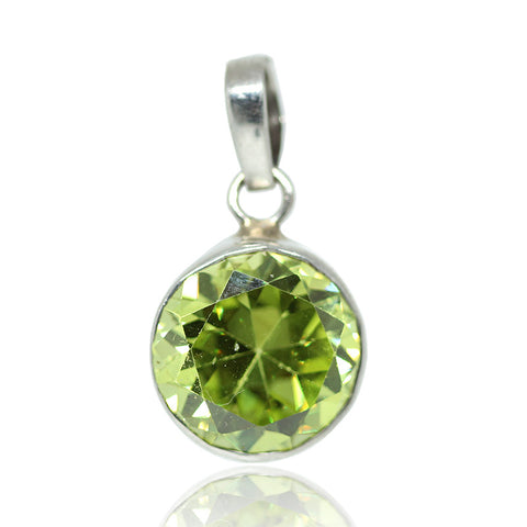 Green Zircon Sterling Silver Pendant 3020PD - Jewels Exports