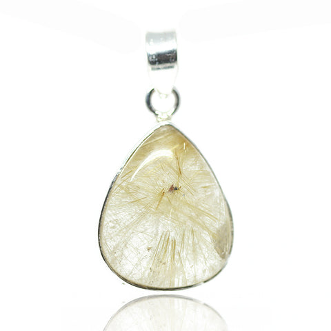 Golden Rutile Quartz Sterling Silver Pendant 3016PD - Jewels Exports