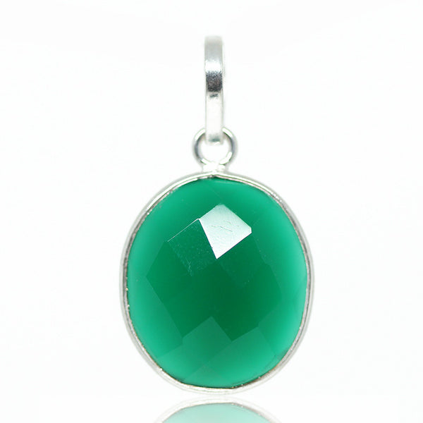 Green Onyx Sterling Silver Pendant 3014PD - Jewels Exports