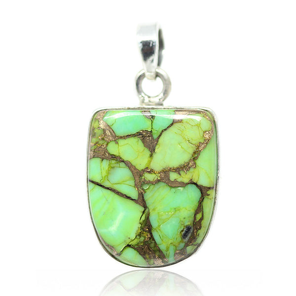 Copper Turquoise Sterling Silver Pendant 3011PD - Jewels Exports