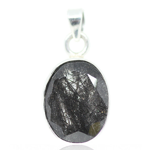 Black Rutile Quartz Sterling Silver Pendant 3010PD - Jewels Exports