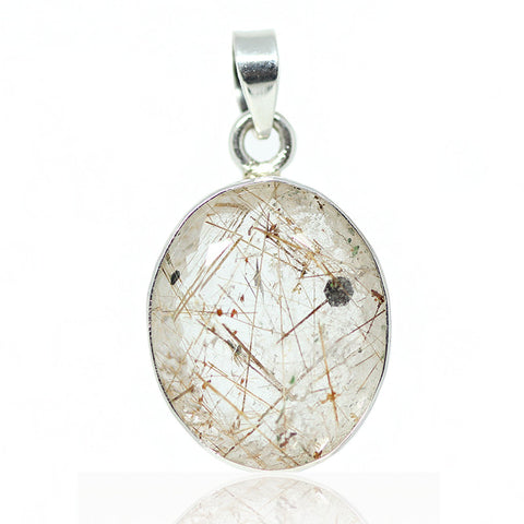 Golden Rutile Quartz Sterling Silver Pendant 3003PD - Jewels Exports