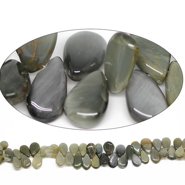 Cat's Eye Smooth Pear Drop Beads, 5 beads, 9-10mm, SKU4702/E - Jewels Exports