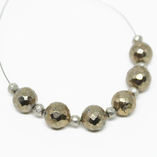 Natural Pyrite Faceted Israel Cut Round Ball Beads, 6 Bead, 6mm, SKU10117R - Jewels Exports