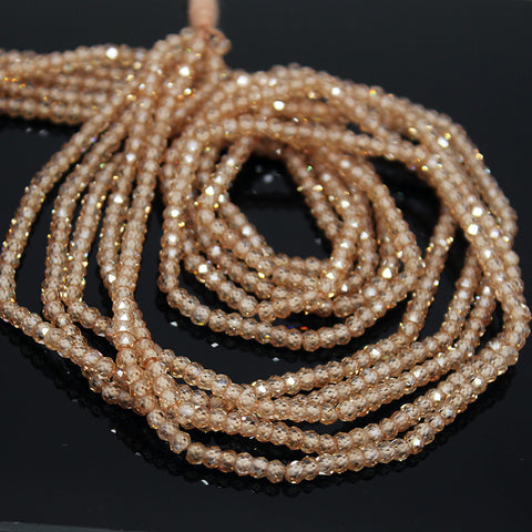 Champagne Zircon (natural), 3mm faceted roundel beads. Sold per 13-inch strand, SKU10172/M - Jewels Exports