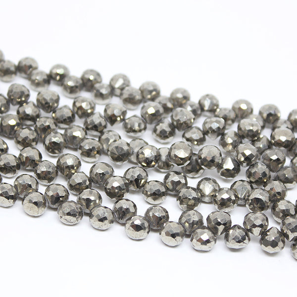 Pyrite Faceted Onion Drops Briolette Beads Strand, 10 Inches , 5-6mm, SKU9457R - Jewels Exports