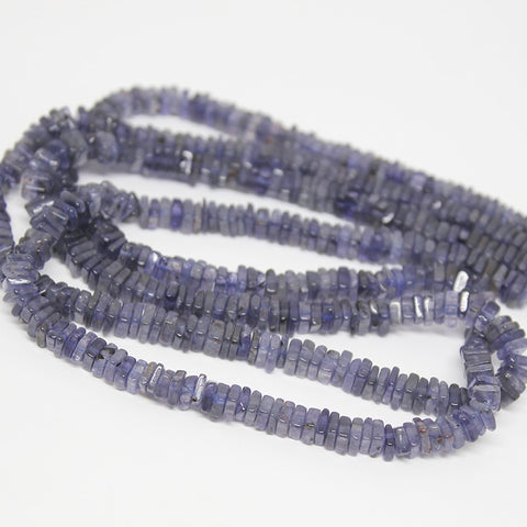 Blue Iolite Water Sapphire Smooth Polished Heishi Cube Beads Strand, 16 inches, 4mm, SKU10223/M - Jewels Exports
