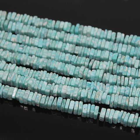 Amazonite Smooth Polished Heishi Cube Beads Strand, 17 Inches, 4-5mm, SKU10217R - Jewels Exports