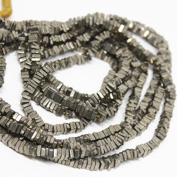 Pyrite Smooth Polished Heishi Cube Beads Strand, 16 Inches, 3mm, SKU10210/J - Jewels Exports