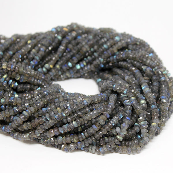 Labradorite Faceted Rondelle Beads Strand, 13 Inches, 4-5mm, SKU10202R - Jewels Exports