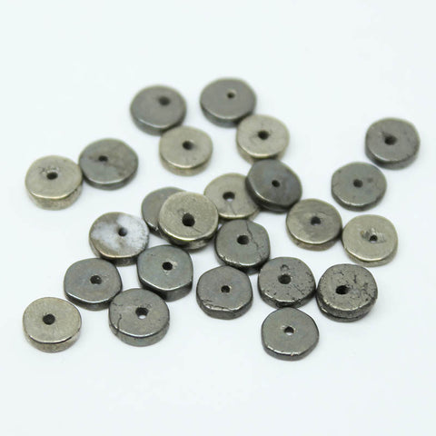 Pyrite Smooth Heishi Wheel Beads, 28 beads, 5mm, SKU/E - Jewels Exports