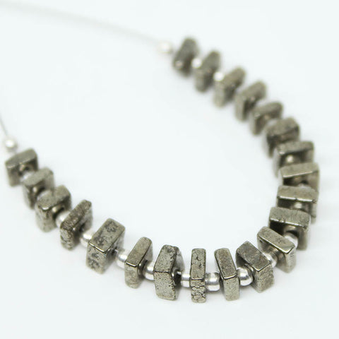 Shiny Pyrite Smooth Heishi Cube Beads, 21 beads, 4-4.5mm, SKU/E - Jewels Exports
