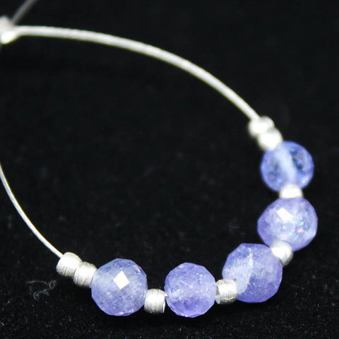 Tanzanite Faceted Round Ball beads, 5 beads, 3.5-4.5mm, SKU/E - Jewels Exports