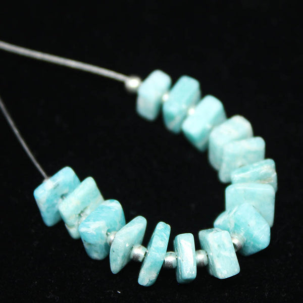 Amazonite Smooth Heishi Cube Beads, 15 beads, 4.5-5mm, SKU/E - Jewels Exports - 1