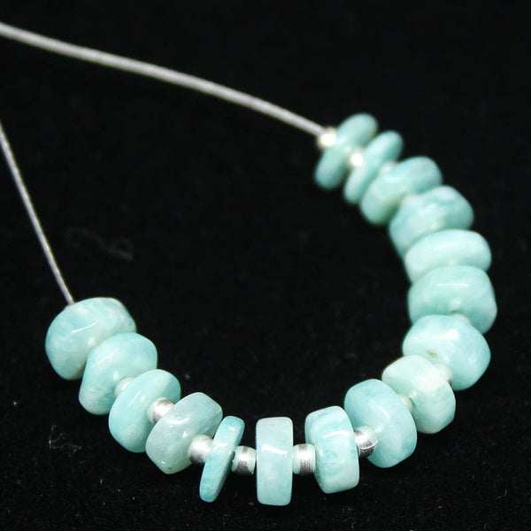 Amazonite Smooth Heishi Wheel Beads, 16 beads, 6mm, SKU/E - Jewels Exports